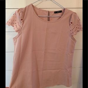 Pale pink cutout sleeved blouse